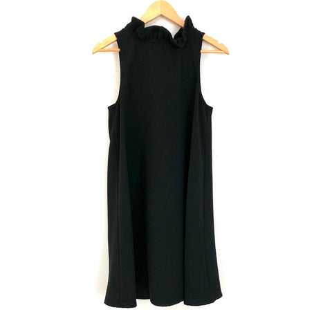 DO+BE Black Ruffle High Neck Shift Dress- Size S