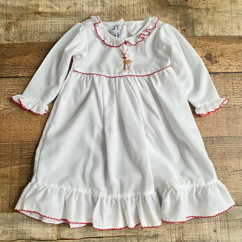 Sweet Dreams White Reindeer Embroidered Dress- Size 12M