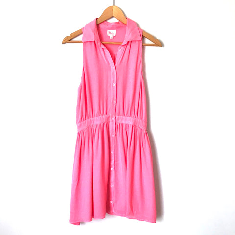 Parker Pink Button Front Tank Dress 100% Silk- Size XS