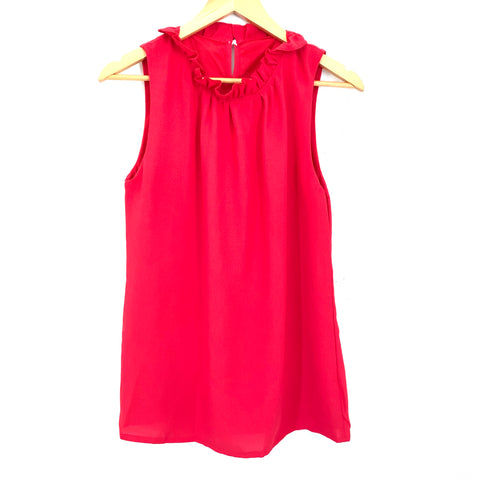 No Brand Red Ruffle Collar Tank Blouse- Size S