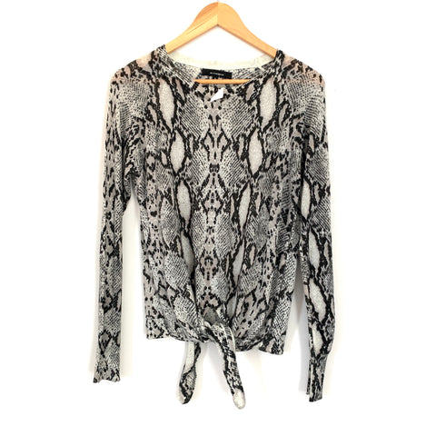 Olivaceous Snake Print Tie Front Sweater- Size S