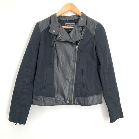 Lucky Brand Black Leather Trim Moto Jacket- Size XS
