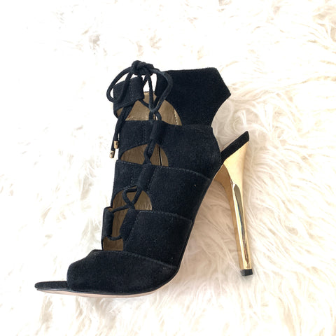 Sam Edelman Black Suede Lace Up with Gold Heel- Size 6