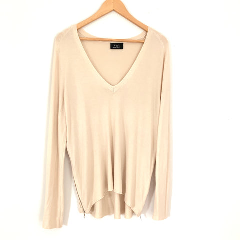 Vici Cream Sweater with Side Zippers- Size XS