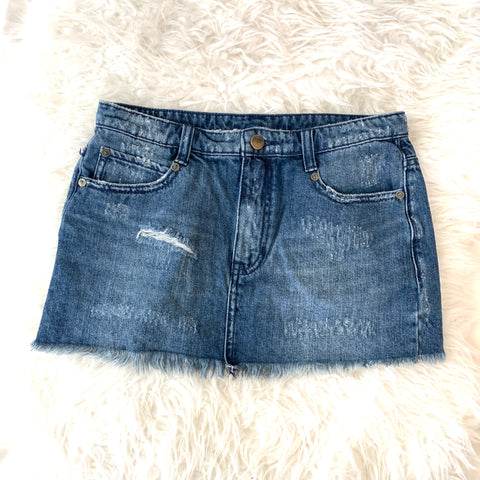Free People Distressed Denim Mini Cut Off- Size 0
