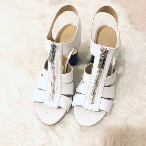 Michael by Michael Kors White Zipper Block Heels (Great condition!)- Size 7.5