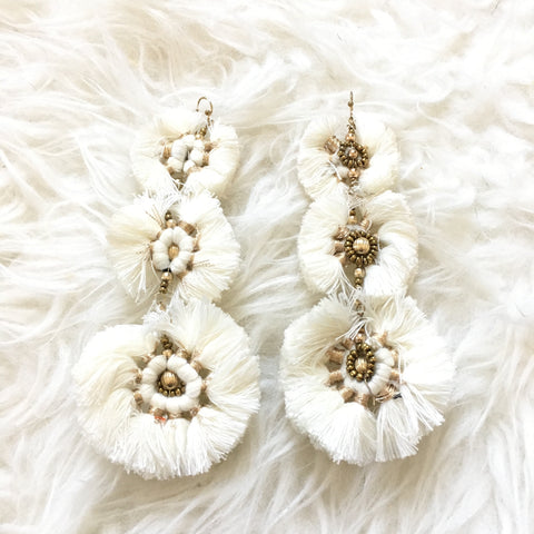 No Brand White and Gold Circle Tassel Earrings (see notes)