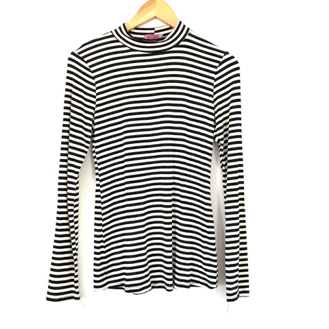 Pink Lily Black & White Striped Turtleneck Blouse- Size S (See notes!)