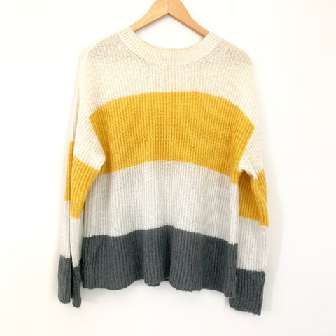 BP Yellow and Grey Striped Wide Cut Sweater- Size S