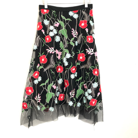 Eva Franco Anthropologie Black Embroidered Skirt NWT- Size 6
