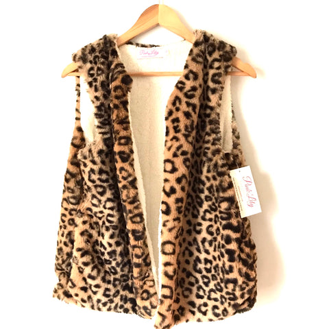 Pink Lily Animal Print Faux Fur Vest NWT- Size S