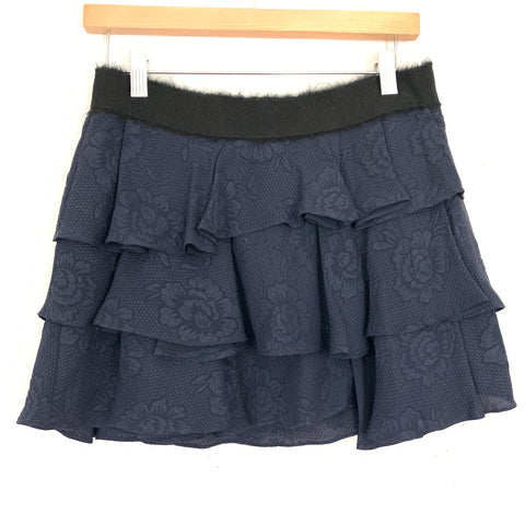 Derek Lam 10 Crosby Navy Silk Ruffle Tiered Skirt- Size 0