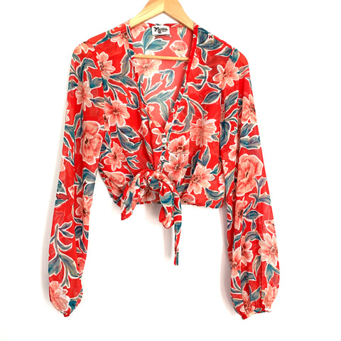 Show Me Your Mumu Red Floral Sheer Button Up Front Tie Crop Top- Size S