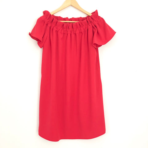Pleione Red Off The Shoulder Dress - Size XS