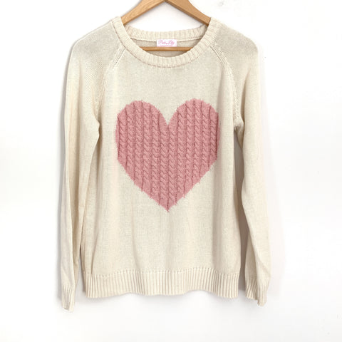 Pink Lily Heart Cream Sweater- Size S