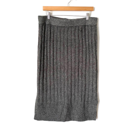 Halogen Grey Ribbed Sweater Skirt- size L