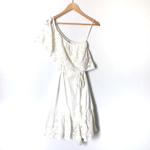 Maette White Pineapple Eyelet One Shoulder Dress with Braided Tie Waist NWT- Size XS
