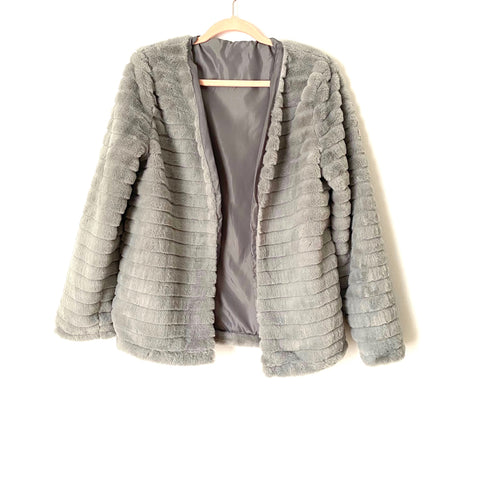 No Brand Grey Faux Fur Jacket- Size L