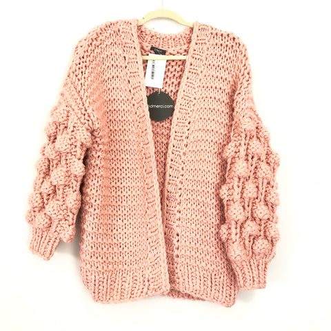 &Merci (Pink Lily) Hold Your Attention Pom Pom Sleeve Knit Cardigan NWT- Size S