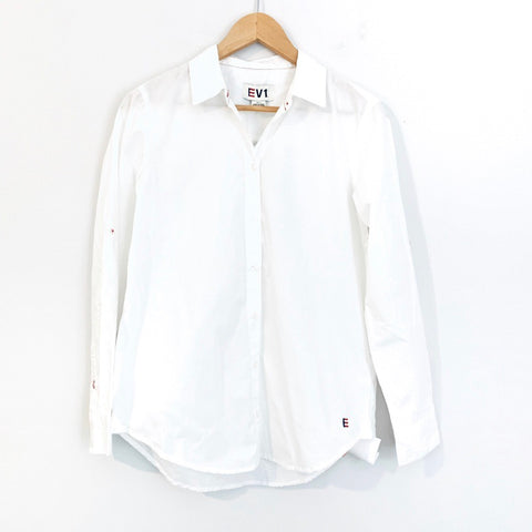 EV1 White Button Up Blouse NWT- Size XS