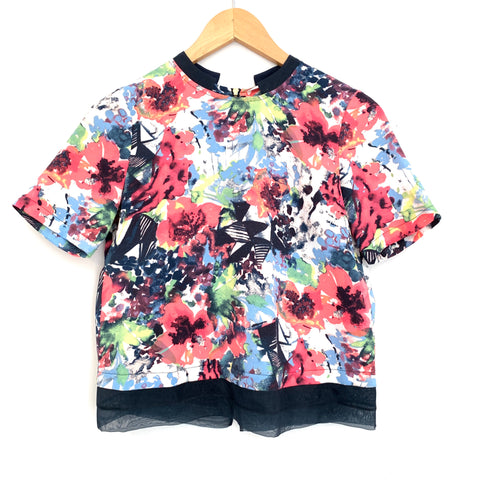 Cooper & Ella Colorful Floral Shirt with Mock Collar and Back Exposed Zipper- Size XS