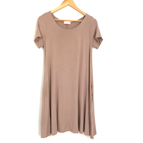 Pink Lily Taupe T Shirt Dress with Pockets- Size S