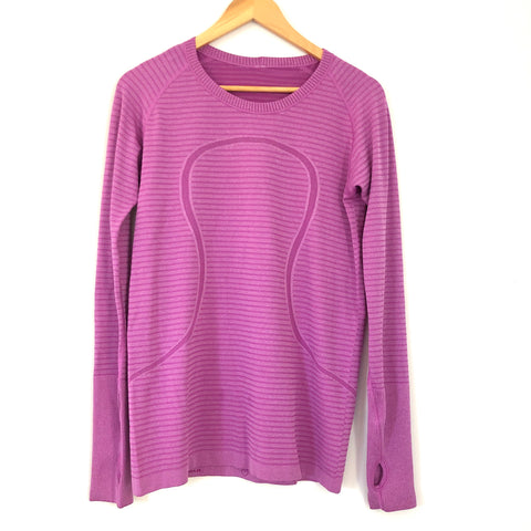 Lululemon Swiftly Long Sleeve Top with Stripes- Size 10