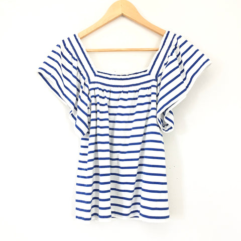 J Crew Blue and White Striped Top- Size XS