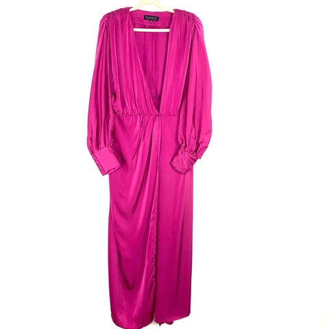 Eloquii Fuschia Satin Wrap Dress with Snap Closure and Shoulder Pads NWT- Size 14