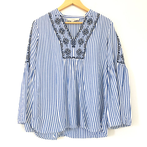 LOFT Striped Embroidered Top- Size XS