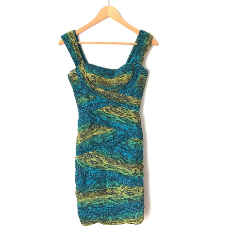 BCBG Maxazria Blue and Green Snakeskin Print Dress- Size XS