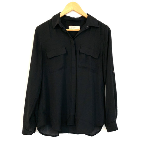 LOFT Black Button Up Blouse- Size S