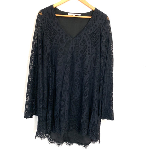 Lovers + Friends Black Lace Dress with Bell Sleeves- Size S