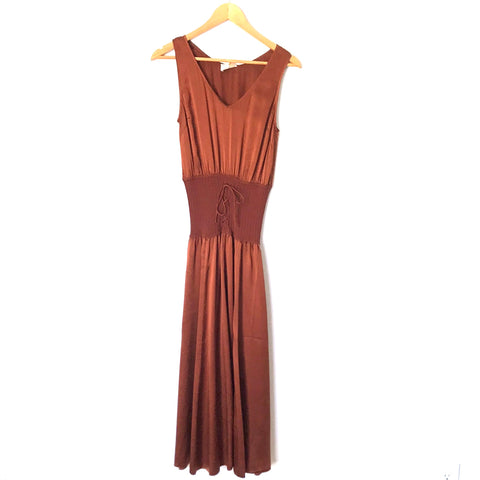 Le Fou Wilfred Deep Rust 100% Silk Dress with Corset Style Bodice- Size S