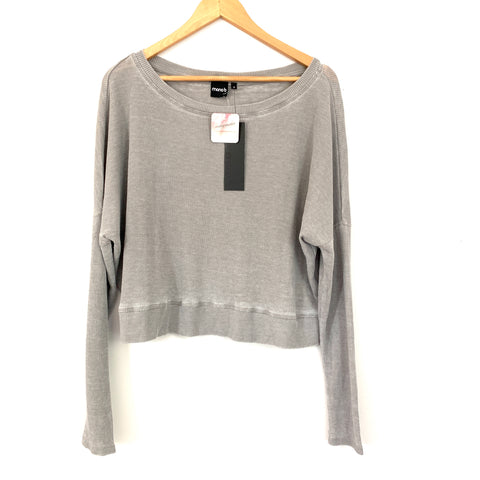 Mono B Grey Thermal Long Sleeve Crop Top NWT- Size S
