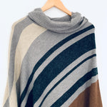 LOFT Striped Dolman Style Turtleneck Poncho Sweater- Size XS/S