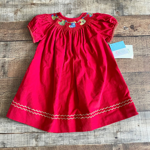 Collection Bebe Red Corduroy Smocked Stocking Dress NWT- Size 12M
