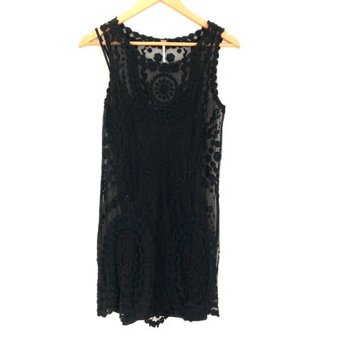 Free People Black Embroidered Tank Dress (with removable lining/slip)- Size XS (see notes)