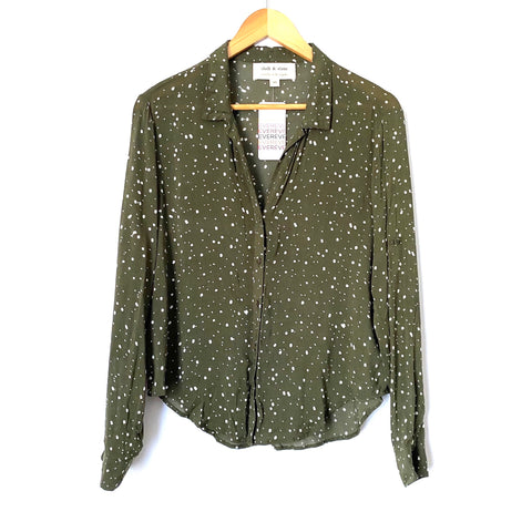 Cloth & Stone Olive Printed Button Down NWT- Size XS