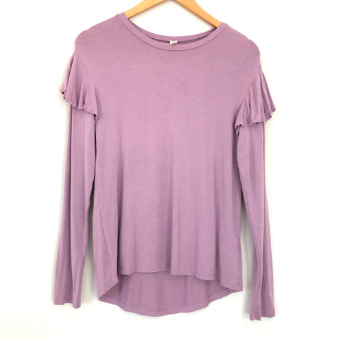 BP Lilac Mid-Ruffle Long Sleeve Top - Size XS
