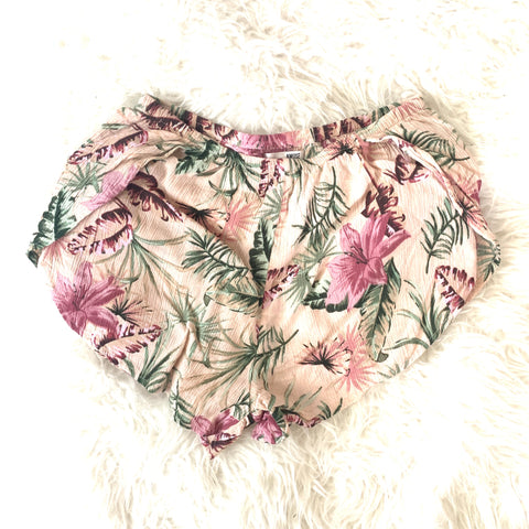 Amuse Society Pink Floral Palm Shorts- Size XS