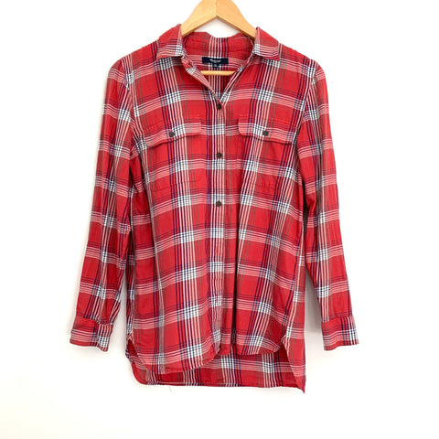 Madewell Red Plaid Button Up- Size XS (worn in Hallmark Christmas movie!)