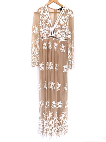 Forever 21 Nude Maxi Dress with White Embroidered Lace- Size S