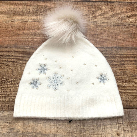 Talbots Cream Snowflake Beanie With Poof NWT