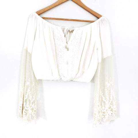Ecru Cropped Crochet Bell Sleeve Top- Size M
