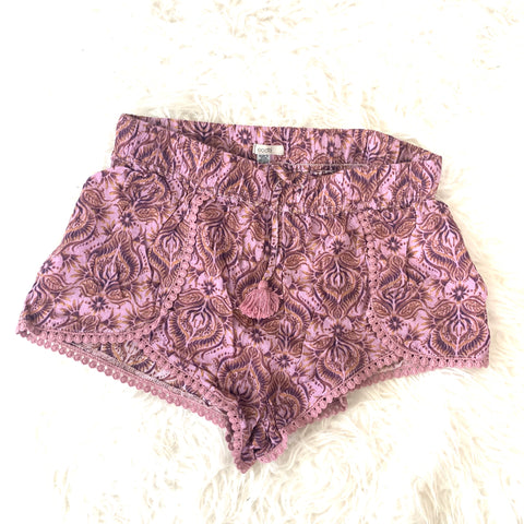 Ecote Purple Paisley Shorts- Size XS
