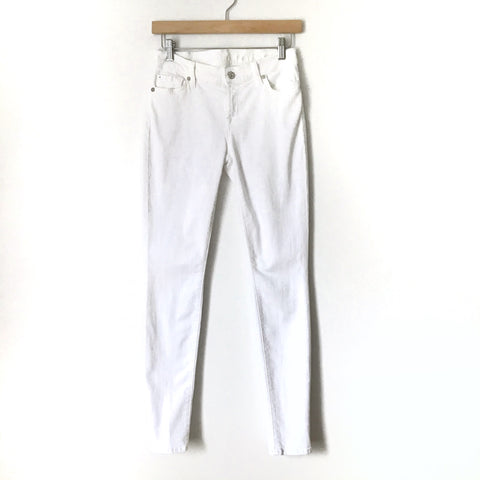 "7 For All Mankind White Skinny Jeans- Size 26 (Inseam 29 1/2"") see notes"