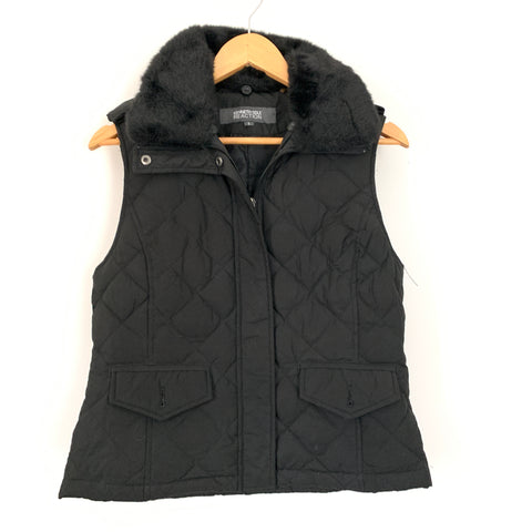 Kenneth Cole Reaction Black Down Vest with Faux Fur Collar- Size S