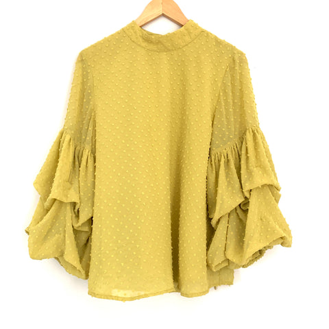 Wishlist Apparel Chartreuse Blouse with Ruffle Sleeves- Size S