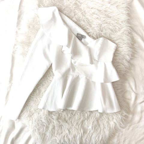 ASOS White One Shoulder Ruffle Peplum Blouse- Size 0